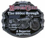Brough 680cc Motorcycle belt buckle with display stand. Code FL1